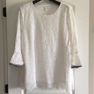 Charter Club lace top with bell sleeves